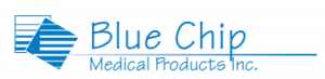Blue Chip Medical Products logo on Dorian Drake International website mattresses