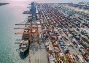 Busy port congestion loading and discharging containers - worldwide traffic logistics